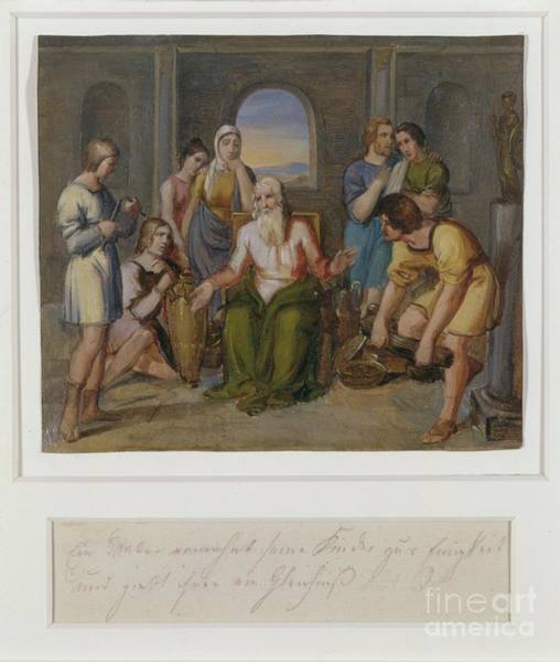 Painting - A Father Telling A Parable To His Children by Celestial Images