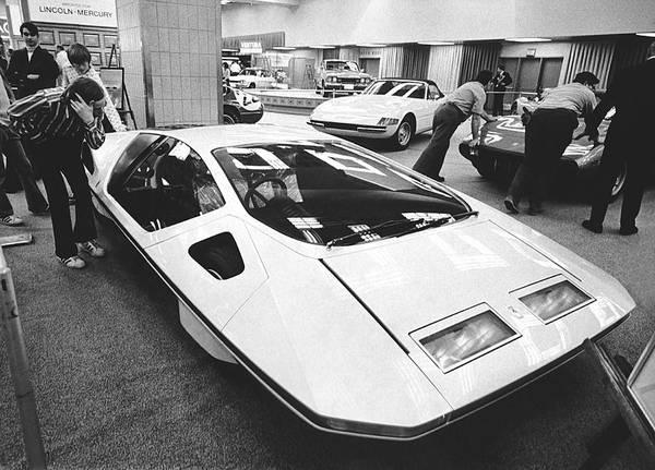 Auto Show Photograph - A Ferrari Modulo At Auto Show by Underwood Archives