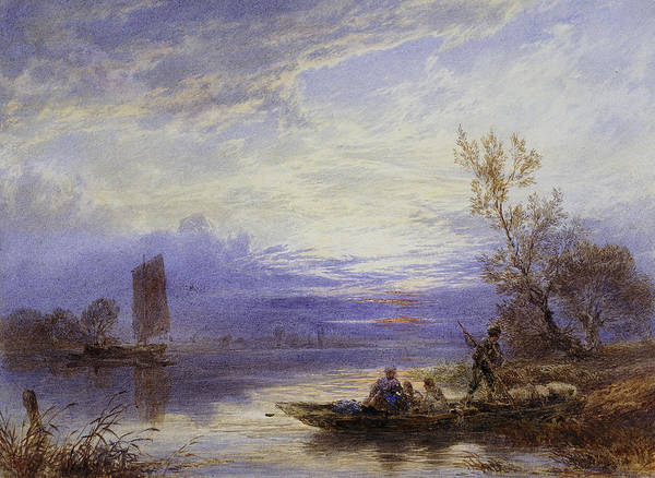 Boat Ride Wall Art - Painting - A Ferry At Sunset by Myles Birket Foster