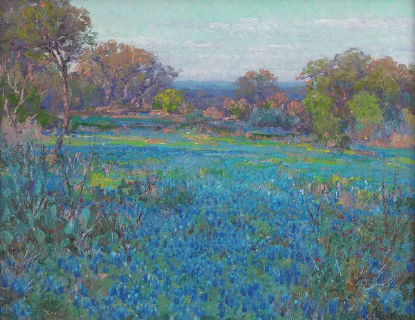 Wall Art - Painting - A Field Of Blue Bonnets, Late Afternoon Sunlight by Julian Onderdonk
