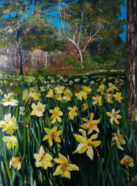 Painting - A Field Of Daffodils by Ray Khalife
