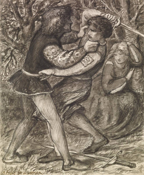 Drawing - A Fight For A Woman  by Dante Gabriel Rossetti