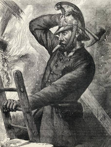 Brigade Drawing - A Fireman In The Late 19th Century by Vintage Design Pics