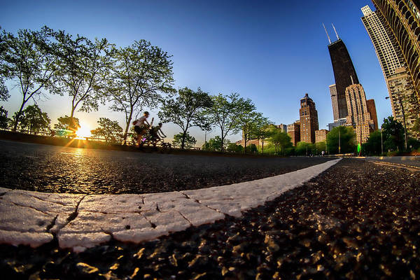 Photograph - A Fisheye Sunrise On Chicago's Lake Shore Drive by Sven Brogren