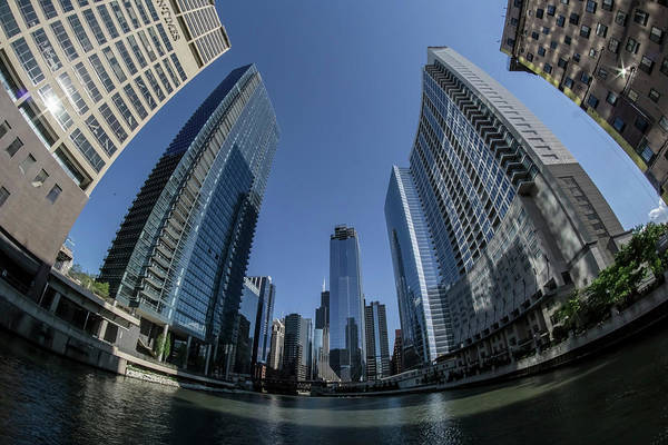 Photograph - A Fisheye View Of The Chicago Skyline As You Appraoch Wolf Point by Sven Brogren