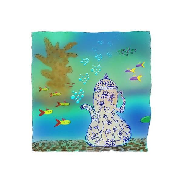 Digital Art - A Fishy Tea Pot by Teresa Epps