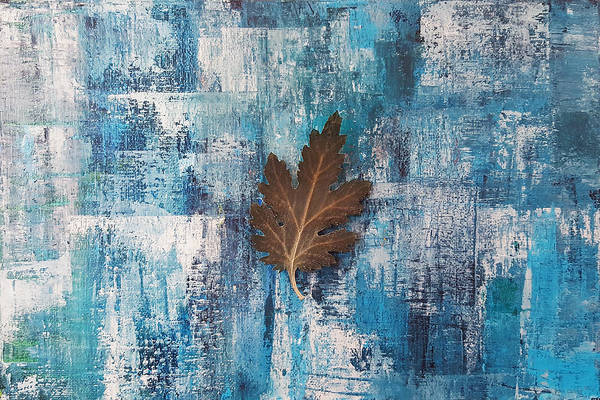 Season Mixed Media - A Flying Leaf In Rainy Day by Kathleen Wong