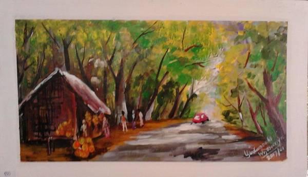 Wall Art - Painting - A Forest At Badagamuwa by Sudumenike Wijesooriya