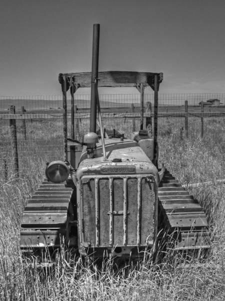 Dozer Photograph - A Forgotten Dozer Black And White by Ken Smith