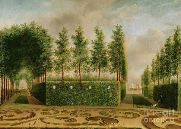 Wall Art - Painting - A Formal Garden, 1766  by Johannes Janson