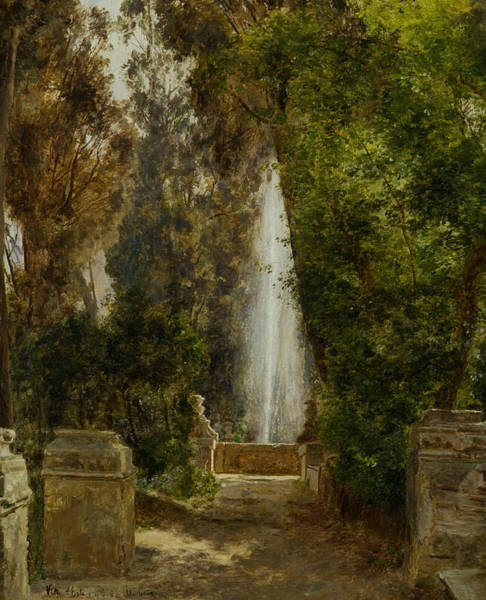 Villa D Wall Art - Painting - A Fountain At The Villa D'este In Tivoli by Janus la Cour