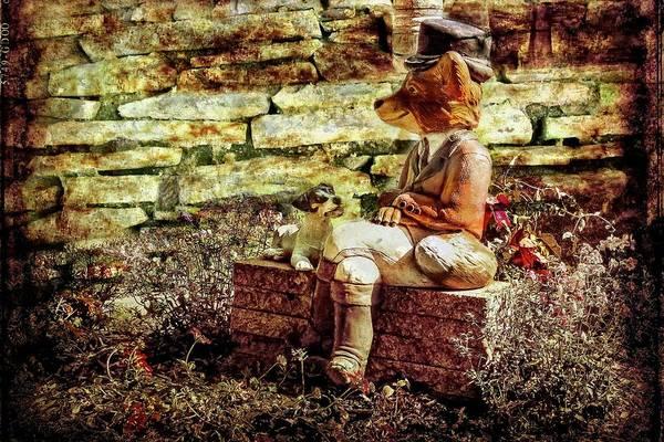 Digital Art - A Fox  And Dog Garden Ornament. by Rusty R Smith