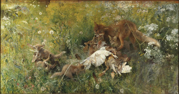 Painting - A Fox Family by Celestial Images