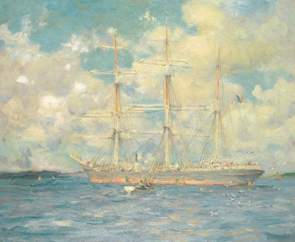 Cruiser Painting - A French Barque In Falmouth Bay by Henry Scott Tuke