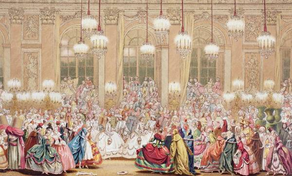 Wall Art - Drawing - A French Masquerade Ball Celebrating by Vintage Design Pics