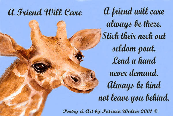 Mixed Media - A Friend Will Care by Patricia Walter