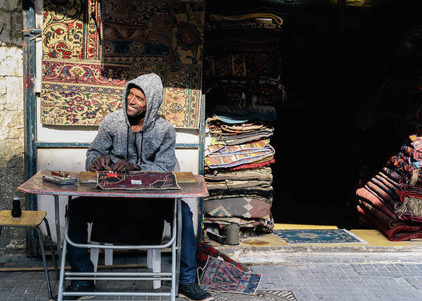 Photograph - A Friendly Carpet Maker In Jaffa, Israel by Alexandre Rotenberg