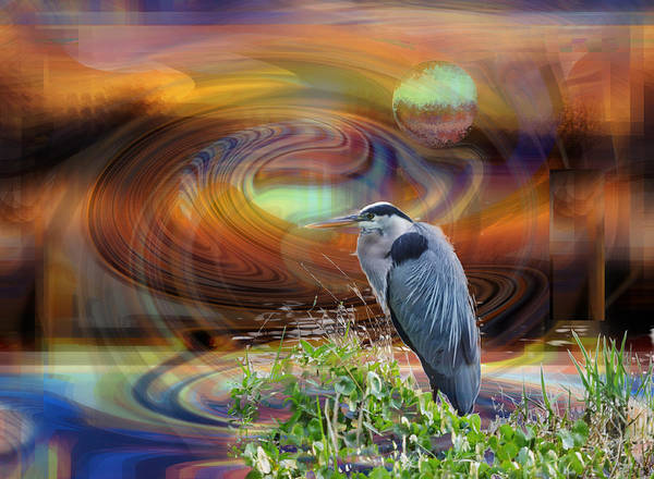 Digital Art - A Full Moon Abstract And Great Blue Heron by rd Erickson