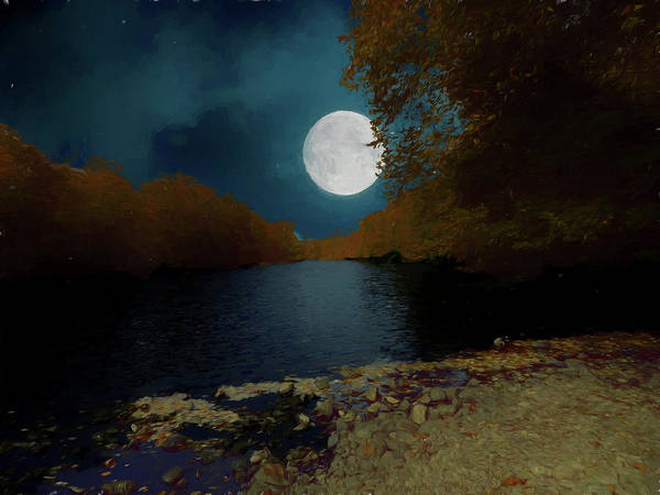 Photograph - A Full Moon On A River. by Rusty R Smith