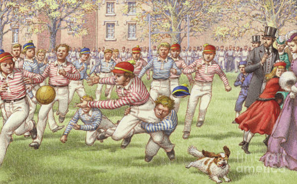 Private Painting - A Game Of Rugby Football Being Played At Rugby School by Pat Nicolle