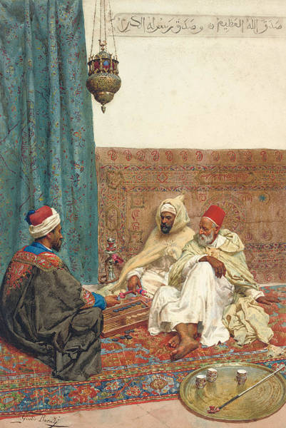 Giulio Painting - A Game Of Tavli by Giulio Rosati