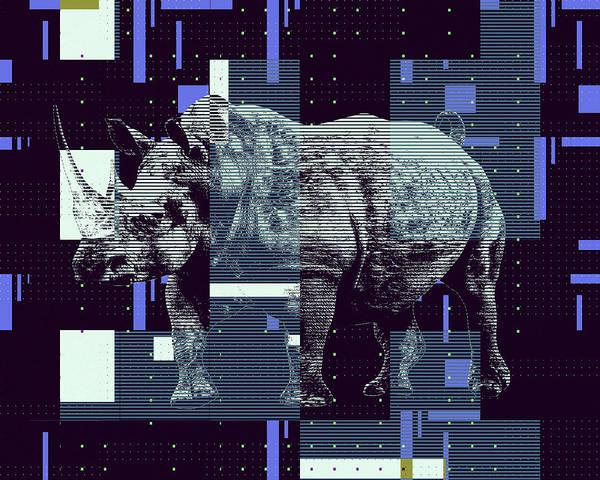 Digital Art - A Geometric Rhinoceros. by Anthony Murphy