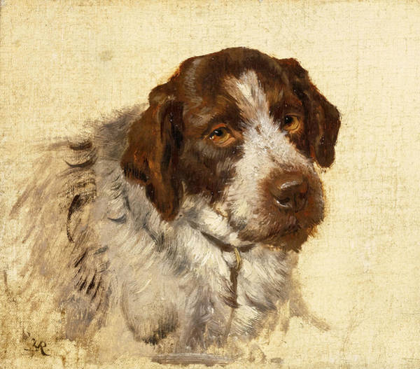 German Pointer Painting - A German Wirehaired Pointer by Attributed to Henriette Ronner-Knip