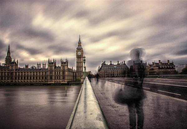 Westminster Bridge Photograph - A Ghostly Figure by Martin Newman