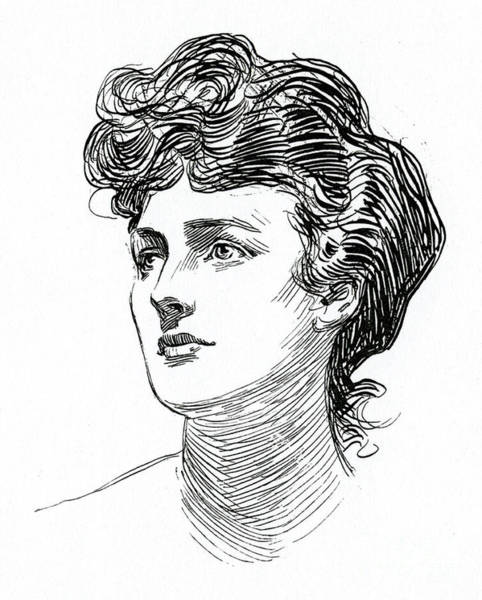 Attractive Drawing - A Gibson Girl By Charles Dana Gibson by Charles Dana Gibson