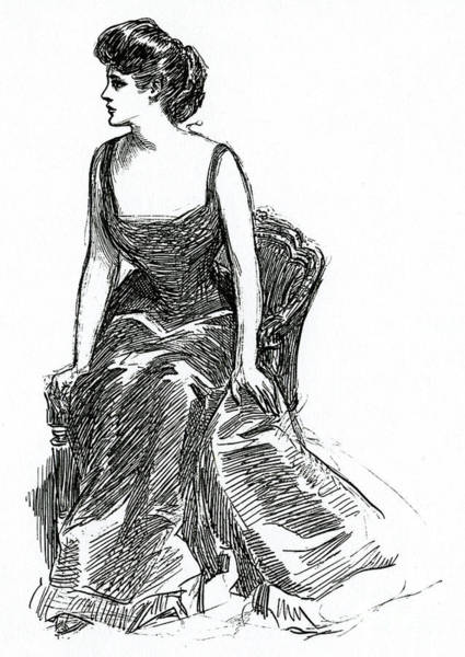 Wall Art - Drawing - A Gibson Girl, C1902 Litho by Charles Dana Gibson