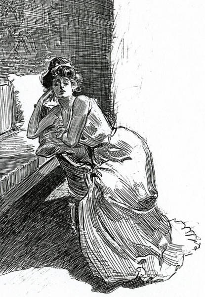 Attractive Drawing - A Gibson Girl, C1902 Lithograph by Charles Dana Gibson