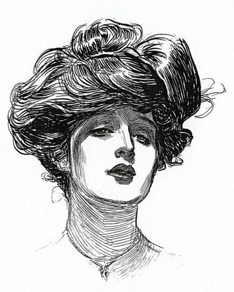 Attractive Drawing - A Gibson Girl, Circa 1902 Lithograph by Charles Dana Gibson