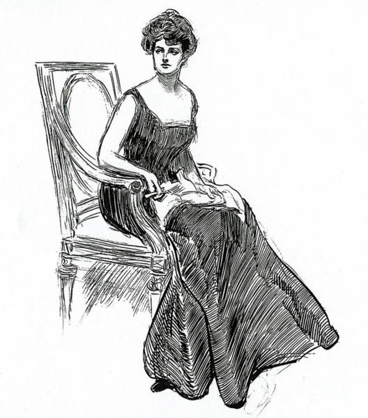 Wall Art - Drawing - A Gibson Girl Dated 1902 by Charles Dana Gibson