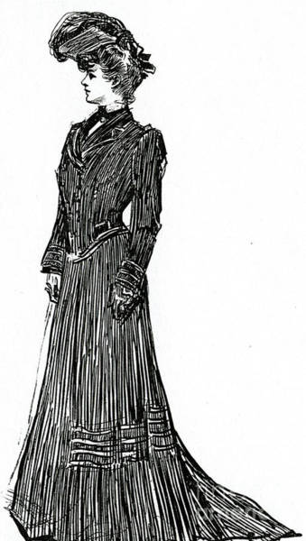 Attractive Drawing - A Gibson Girl In A Dress by Charles Dana Gibson