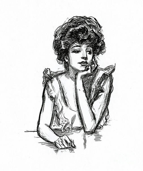 Wall Art - Drawing - A Gibson Girl Posing by Charles Dana Gibson