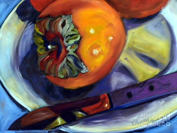 Persimmon Painting - A Gift Of Persimmons Alla Prima by Mary Beth Harrison