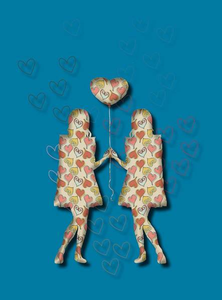 Digital Art - A Girl Loves A Girl by Jan Keteleer