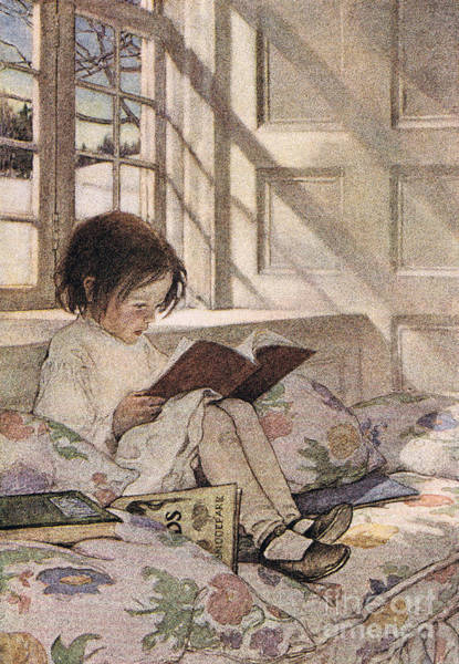 Library Drawing - A Girl Reading by Jessie Willcox Smith