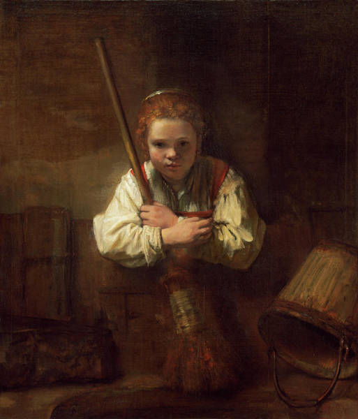 Painting - A Girl With A Broom by Rembrandt Workshop