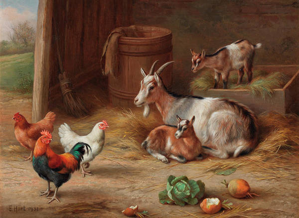 Wall Art - Painting - A Goat And Her Kids With A Cockerel And Hens by Edgar Hunt