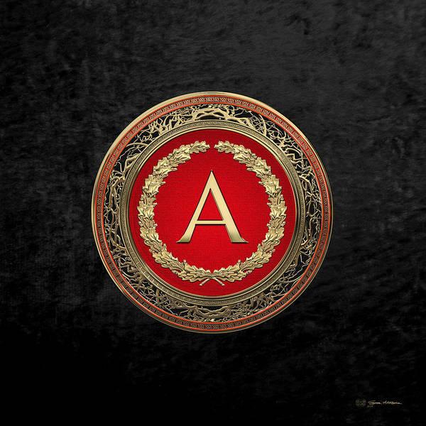 Digital Art - A - Gold On Red Vintage Monogram In Oak Wreath Over Black Velvet by Serge Averbukh