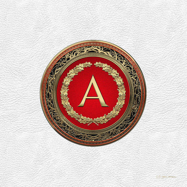 Digital Art - A - Gold On Red Vintage Monogram In Oak Wreath Over White Leather by Serge Averbukh