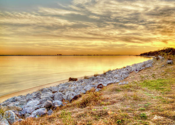 Choctawhatchee Bay Photograph - A Golden Choctawhatchee Bay Sunset In Florida  by Kay Brewer