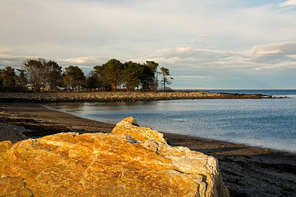 Wall Art - Photograph - A Golden Rock On The New Hampshire Seacoast by Nancy De Flon