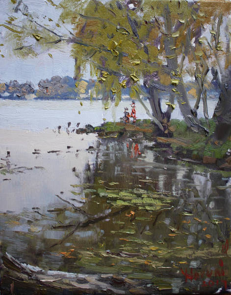 Gray Painting - A Gray Rainy Day At Fishermans Park by Ylli Haruni