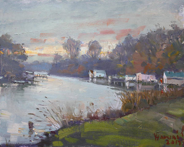 Tonawanda Wall Art - Painting - A Gray Sunset At Mayors Park by Ylli Haruni