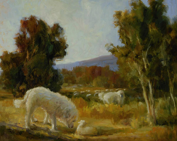 Herding Dog Wall Art - Painting - A Great Pyrenees With A Lamb by Lilli Pell
