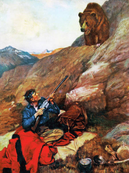 Upland Wall Art - Painting - A Grizzly Surprise by Philip R Goodwin