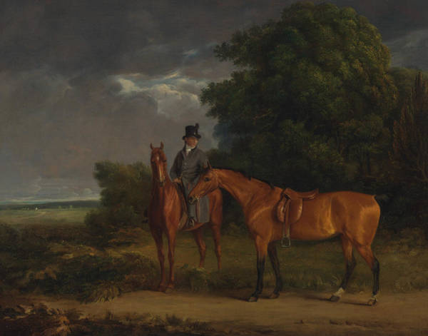 Painting - A Groom Mounted On A Chestnut Hunter, He Holds A Bay Hunter By The Reins by Jacques-Laurent Agasse