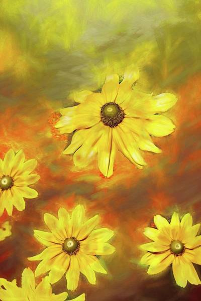Digital Art - A Group Of Yellow Flowers by Rusty R Smith